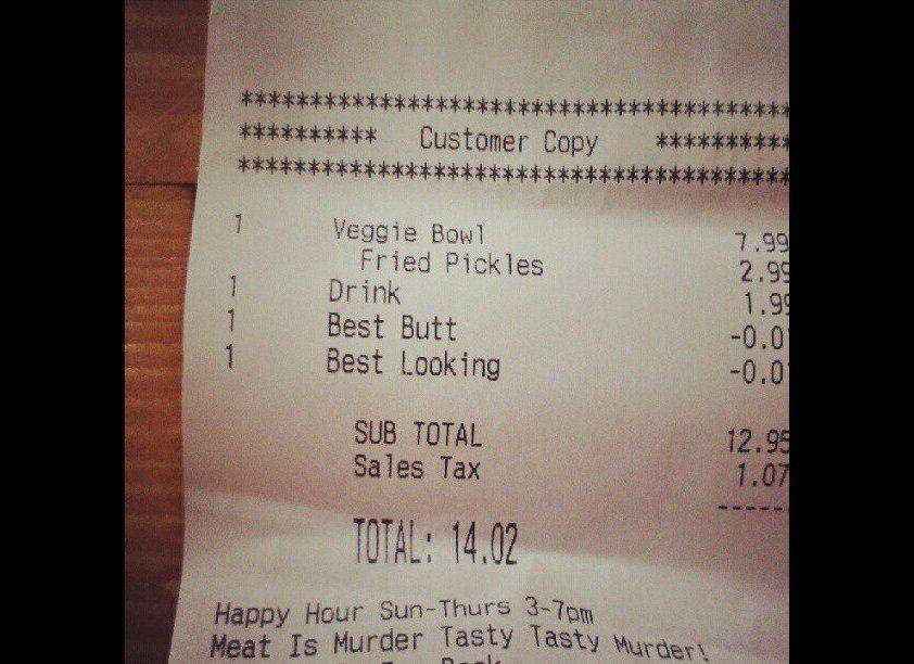 """One woman was surprised to find that along with her veggie bowl, she received a <a href=""""http://www.huffingtonpost.com/2012/08/21/best-butt-discount-customer-receipt_n_1819442.html"""" rel=""""nofollow noopener"""" target=""""_blank"""" data-ylk=""""slk:discount for having the 'best butt'"""" class=""""link rapid-noclick-resp"""">discount for having the 'best butt'</a> and being the 'best looking' person in the fast food joint."""