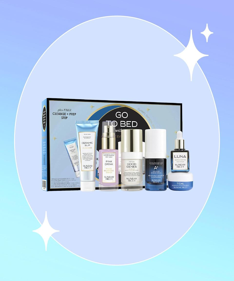 """<strong>Goal:</strong> Finally commit to a nighttime regimen (that goes beyond a cleanser and moisturizer)<br><br><strong>Use:</strong> Sunday Riley Go To Bed With Me Evening Routine Kit <br><br><strong>Why?</strong> Upgrade your two-step routine with a six-product kit that not only takes away the guesswork, but also packs in a bunch of skin-benefiting formulas, like lactic acid, retinol, and papaya enzymes that exfoliate, brighten, and minimize fine lines. From a self-care standpoint, a full p.m. routine is thoroughly therapeutic. <br><br><strong>Sunday Riley</strong> Go To Bed With Me Complete Anti-Aging Night Routine, $, available at <a href=""""https://go.skimresources.com/?id=30283X879131&url=https%3A%2F%2Fwww.sephora.com%2Fproduct%2Fsunday-riley-go-to-bed-with-me-evening-routine-kit-P463966%3Fi-cid2%3Dproducts%2520grid%3Ap463966"""" rel=""""nofollow noopener"""" target=""""_blank"""" data-ylk=""""slk:Sephora"""" class=""""link rapid-noclick-resp"""">Sephora</a>"""
