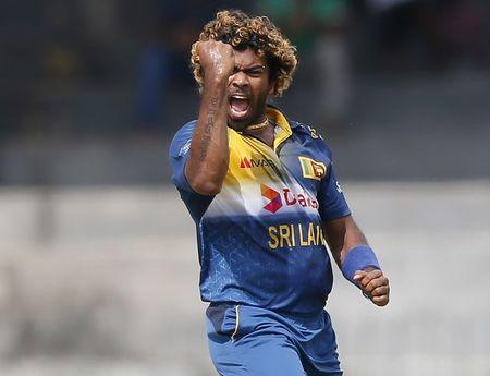 Sri Lanka's Malinga celebrates after taking the wicket of West Indies' Fletcher during their second One Day International cricket match in Colombo