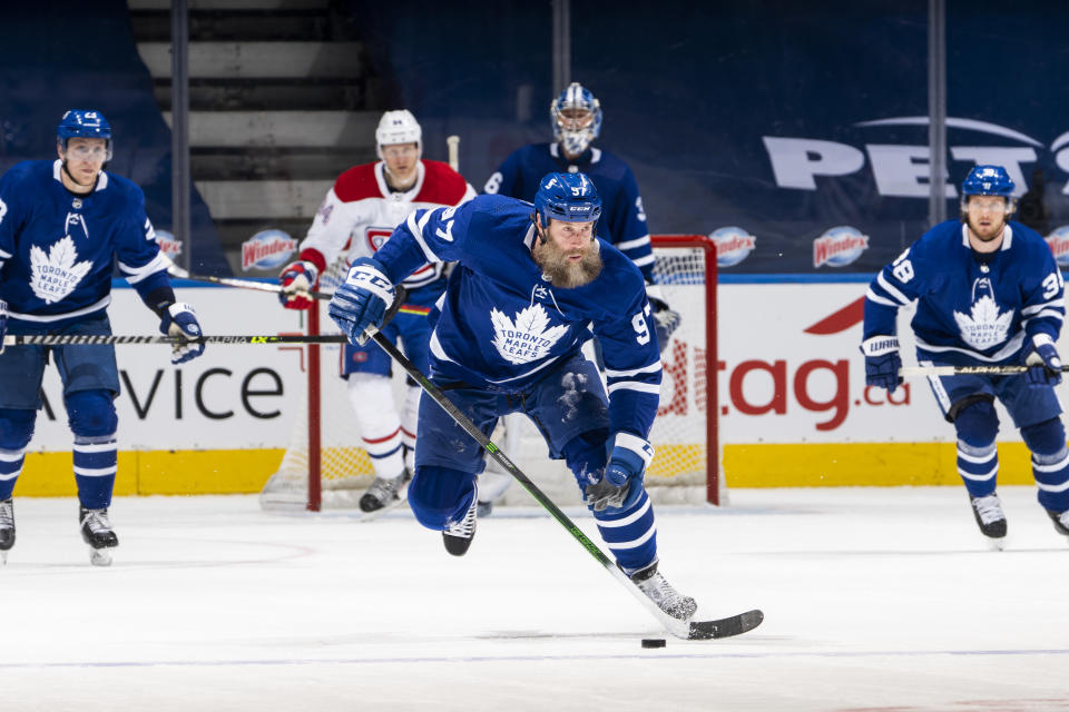 TORONTO, ON - MAY 6: Joe Thornton #97 of the Toronto Maple Leafs plays the puck against the Montreal Canadiens during the first period at the Scotiabank Arena on May 6, 2021 in Toronto, Ontario, Canada. (Photo by Mark Blinch/NHLI via Getty Images)