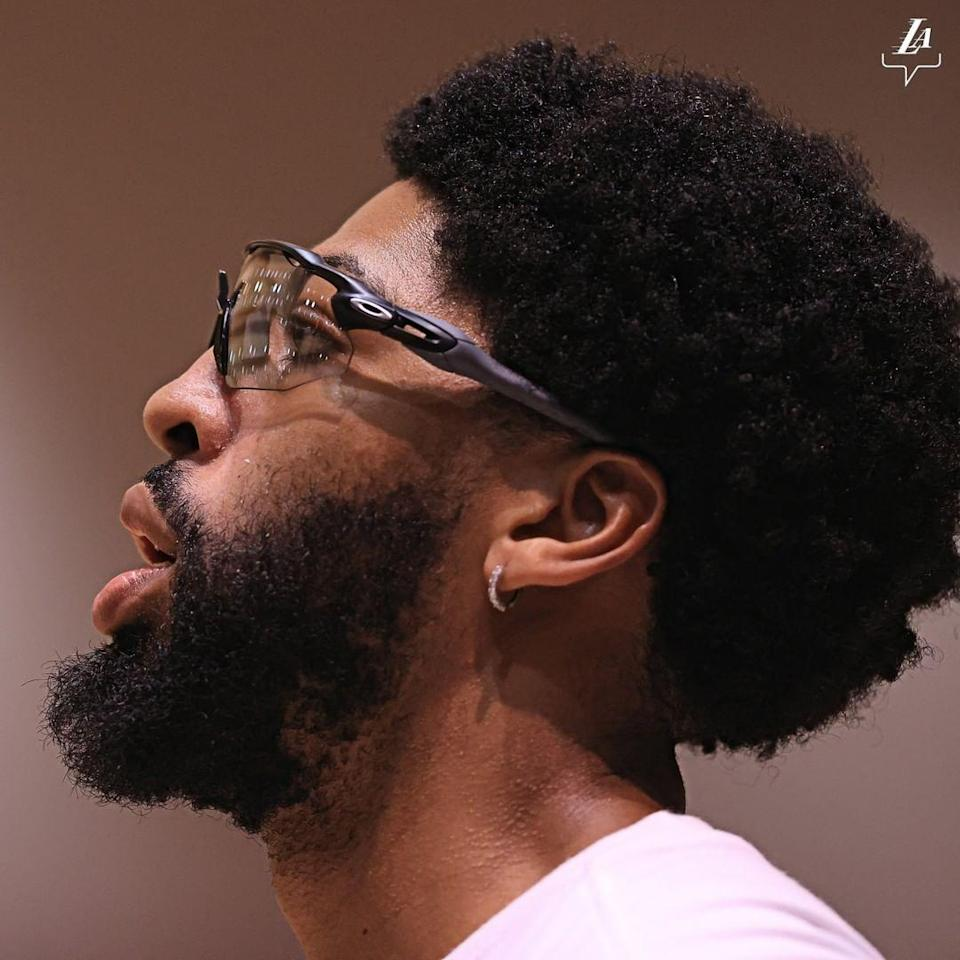 "<div class=""caption""> Anthony Davis </div> <cite class=""credit"">Courtesy of The Los Angeles Lakers / <a href=""https://www.instagram.com/lakers/?hl=en"" rel=""nofollow noopener"" target=""_blank"" data-ylk=""slk:@lakers"" class=""link rapid-noclick-resp"">@lakers</a></cite>"