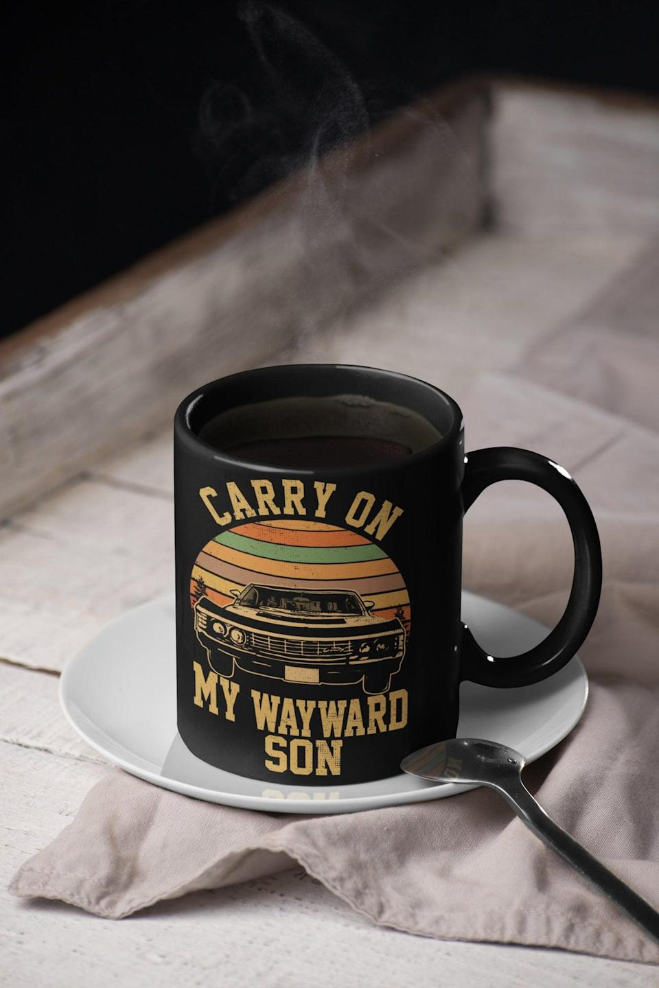 <p>They'll love drinking their morning brew in this <span>Carry On My Wayward Son Mug</span> ($18). It features the Winchester brothers' iconic ride!</p>