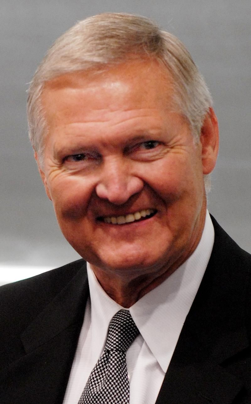 FILE - In this Oct. 26, 2007 file photo, Jerry West smiles after speaking at the West Virginia University School of Pyhsical Education's 75th anniversary celebration in Morgantown, W. Va. When asked about the latest honor in a long series of enshrinements and accolades since West hung up his sneakers in 1974, the longtime Los Angeles Lakers guard and executive seemed to be anticipating his trip to Kansas City to be inducted into the National Collegiate Basketball Hall of Fame with something between cautious excitement and outright dread. (AP Photo/Joe Sadlek, File)