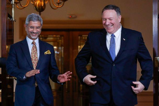 PHOTO: Secretary of State Mike Pompeo, right, walks out with Indian counterpart Subrahmanyam Jaishankar, at the US State Department in Washington, Monday, Sept. 30, 2019. (Pablo Martinez Monsivais/AP)