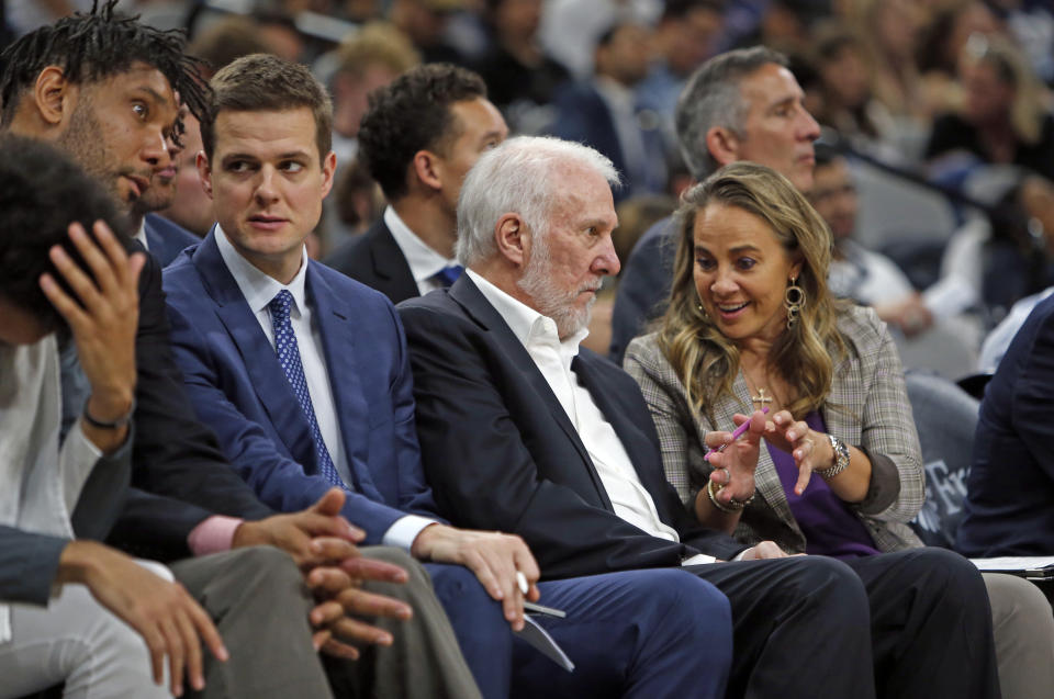 San Antonio Spurs assistant coache Will Hardy, second from left, with Tim Duncan, Greg Popovich and Becky Hammon. (Ronald Cortes/Getty Images)