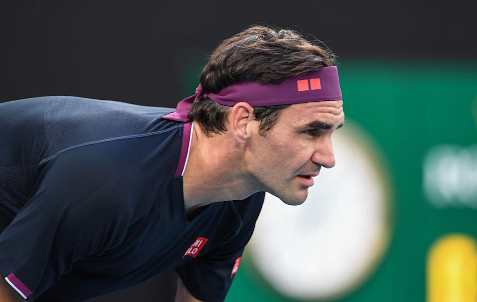 Roger Federer of Switzerland during his semi-final loss to Novak Djokovic of Serbia at Rod Laver Arena on January 30, 2020 in Melbourne, Australia.