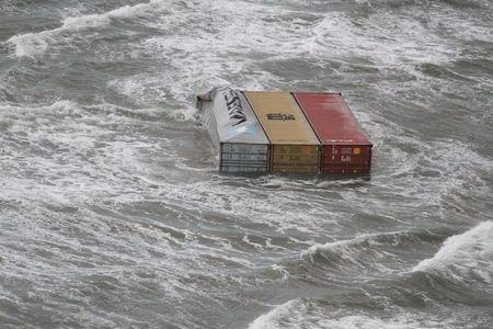 A handout aerial photo made available by the Dutch Coastguard on January 3, 2019 shows floating containerw that have fallen from the container ship MSC ZOE. Up to 270 containers had fallen off the Panamanian-flagged MSC ZOE, one of the world's biggest container ships, in rough weather near the German island of Borkum and floated southwest toward Dutch waters. Dutch Coastguard/Handout via REUTERS