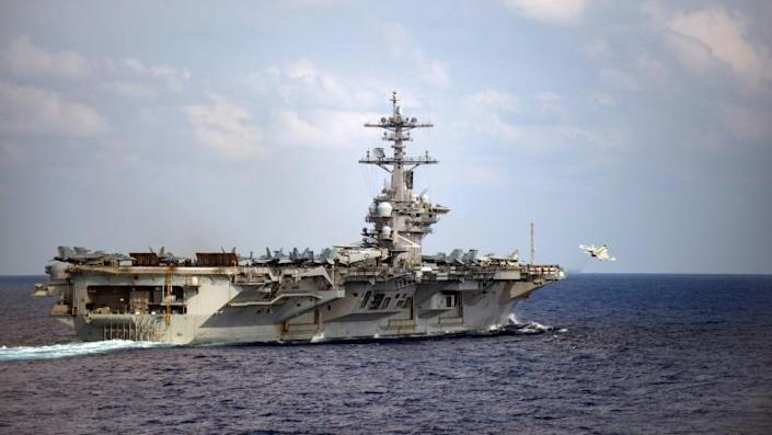 A coronavirus outbreak forced the evacuation in Guam of the 4,800 crew of the nuclear powered aircraft carrier USS Theodore Roosevelt (AFP Photo/Nicholas V. HUYNH)