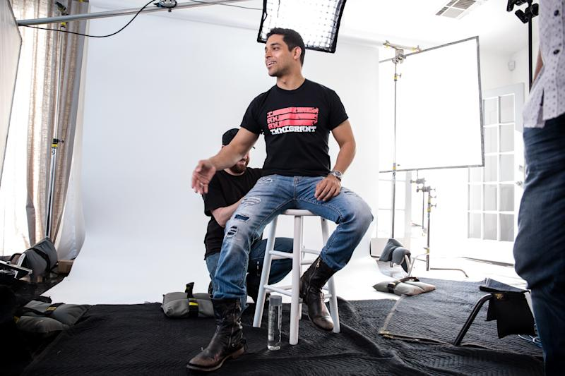 """Actor Wilmer Valderramabehind the scenes of the """"I Am An Immigrant"""" photo shoot."""