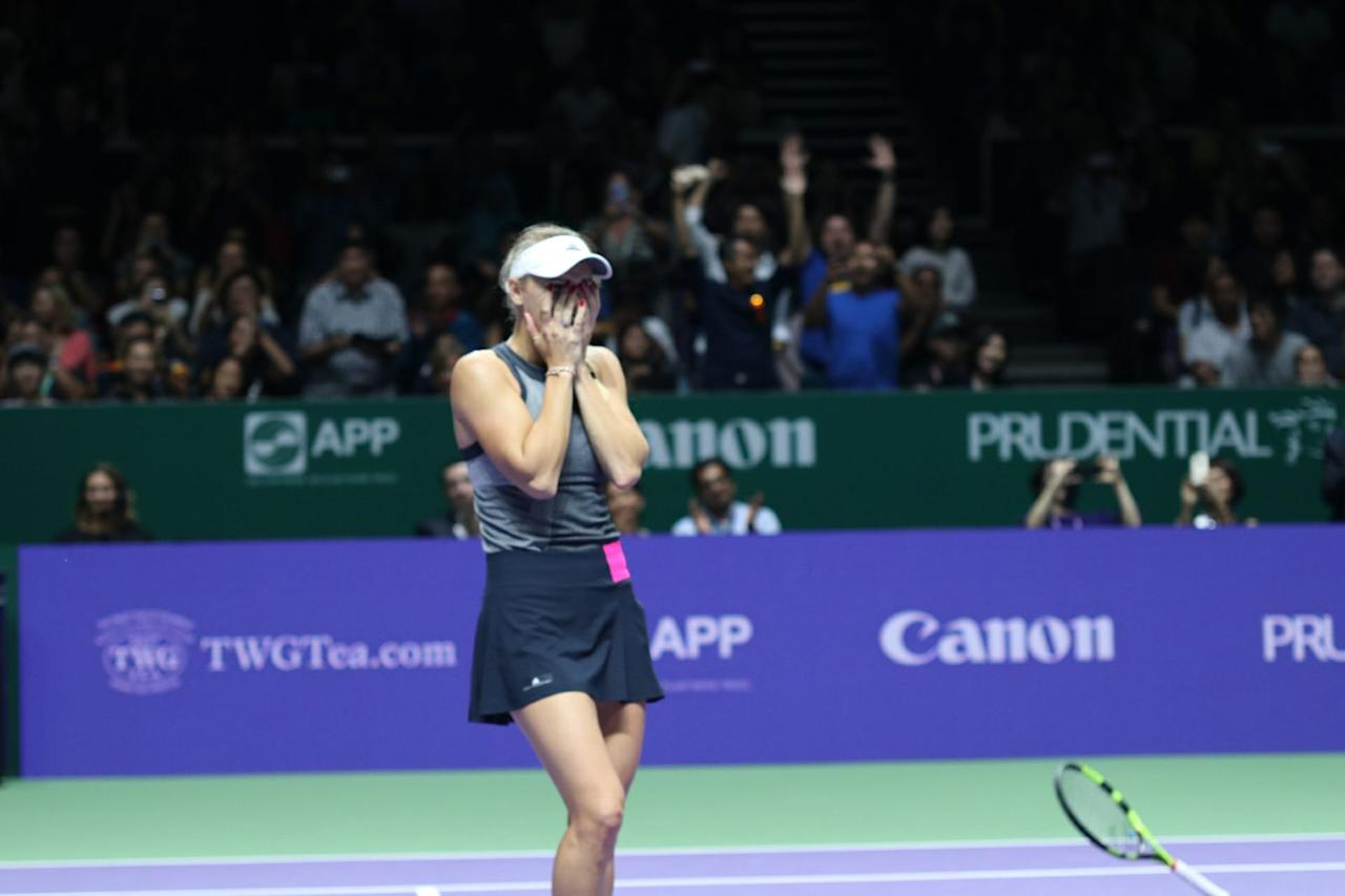 <p>Caroline Wozniacki reacts after winning the WTA Finals in Singapore. Photo: Yahoo News Singapore </p>