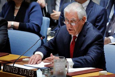 U.S. Secretary of State Rex Tillerson speaks during a Security Council meeting on the situation in North Korea at the United Nations (UN) in New York, U.S., April 28, 2017. REUTERS/Lucas Jackson