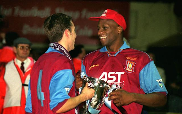 <span>Southgate and Ehiogu at Aston Villa</span> <span>Credit: Rex Features </span>