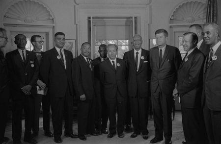Civil rights leaders meeting with President John F. Kennedy in the Oval Office of the White House following the civil rights march on Washington D.C., August 28, 1963. REUTERS/Library of Congress