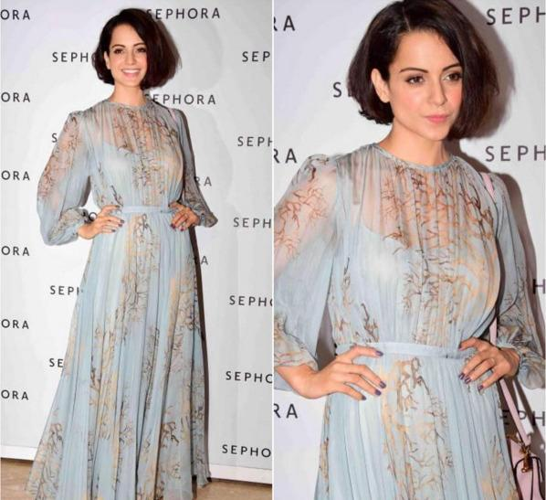 "<p>Recently spotted in a Valentino gown at the store launch of Sephora in Mumbai, Kangana brings in the summer by opting for a chic bob and sticking to the pastel hues. She has left a massive impact with her sartorial picks and has broken all norms of dressing. Her more casual looks are the ones that make our hearts go boom.</p><p><a href=""https://www.instagram.com/p/BBKi1sqs__I/?taken-by=afashionistasdiaries"">https://www.instagram.com/p/BBKi1sqs__I/</a></p>"