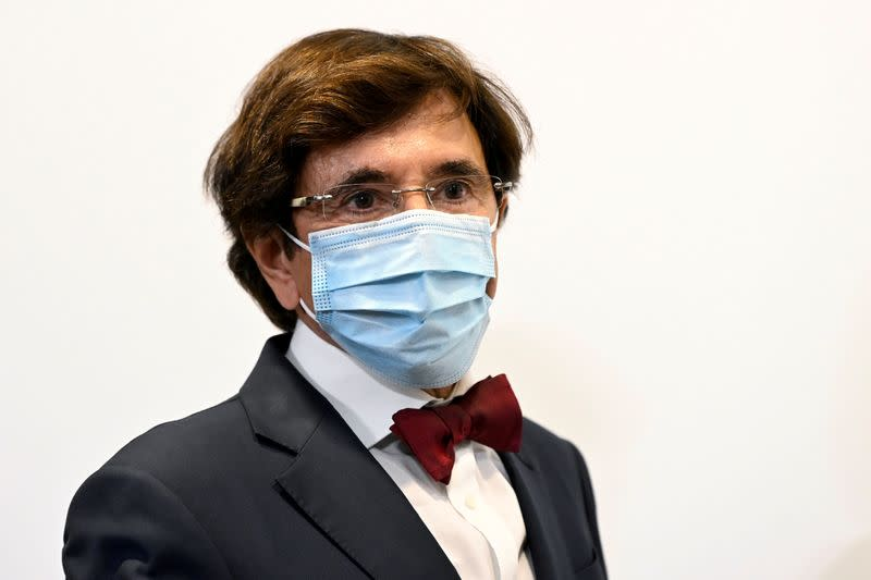 FILE PHOTO: Belgian Minister-President of Wallonia Di Rupo attends a news conference amid the coronavirus disease (COVID-19) outbreak in Brussels