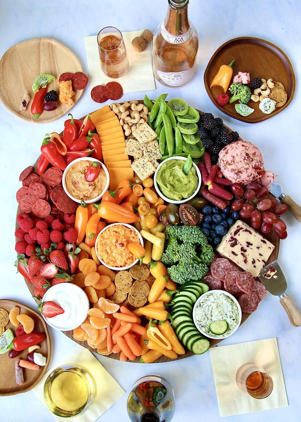 """<p>Every nibble you could possibly crave is found on this rainbow snack board. Sweet, savory, salty—you name it!</p><p><strong>Get the recipe at <a href=""""https://thebakermama.com/recipes/eat-the-rainbow-snack-board/"""" rel=""""nofollow noopener"""" target=""""_blank"""" data-ylk=""""slk:The Baker Mama"""" class=""""link rapid-noclick-resp"""">The Baker Mama</a>.</strong></p><p><strong><a class=""""link rapid-noclick-resp"""" href=""""https://go.redirectingat.com?id=74968X1596630&url=https%3A%2F%2Fwww.walmart.com%2Fsearch%2F%3Fquery%3Dcheese%2Bboards&sref=https%3A%2F%2Fwww.thepioneerwoman.com%2Ffood-cooking%2Fmeals-menus%2Fg36421919%2Frainbow-recipes%2F"""" rel=""""nofollow noopener"""" target=""""_blank"""" data-ylk=""""slk:SHOP CHEESE BOARDS"""">SHOP CHEESE BOARDS</a><br></strong></p>"""