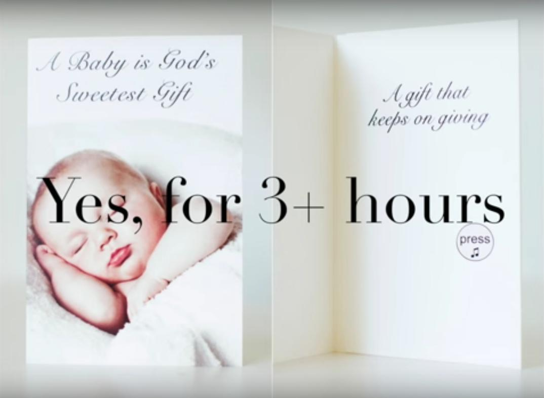 This delightfully evil new baby card plays sound of a newborn pa baby cryingi for three hours or longer m4hsunfo