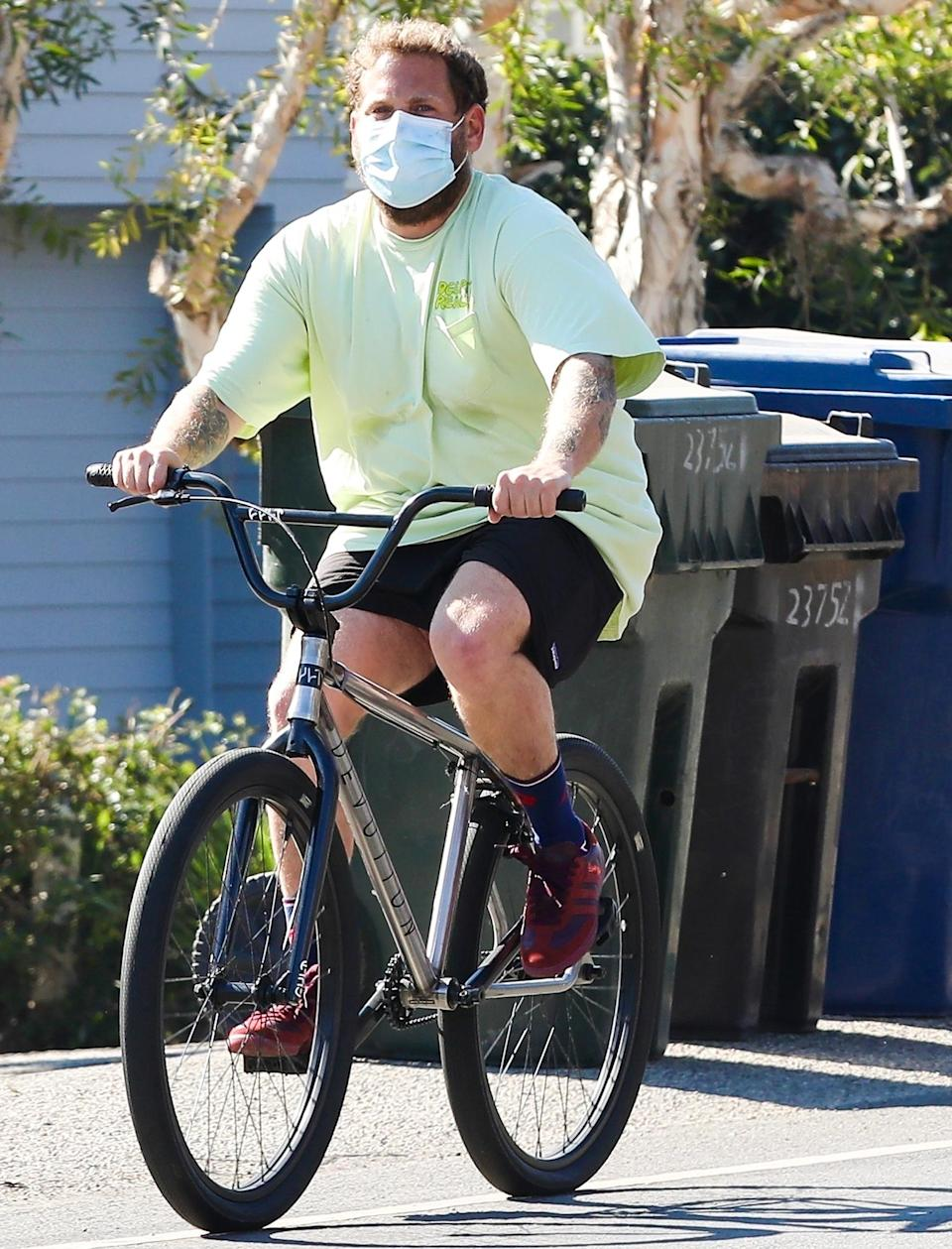 <p>Jonah Hill goes for a bike ride in sunny Malibu on Wednesday.</p>
