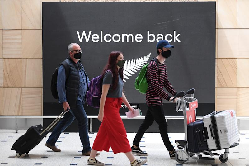 Passengers from New Zealand arrive at Sydney International Airport as part of the trans-Tasman travel bubble with New Zealand. Source: AAP