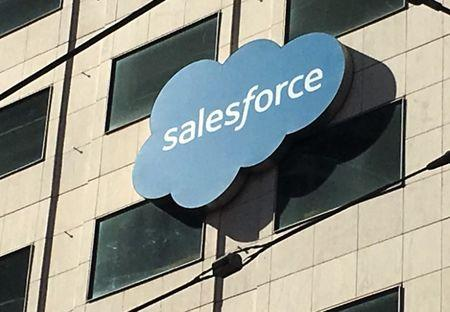 The Salesforce logo is pictured on a building in San Francisco