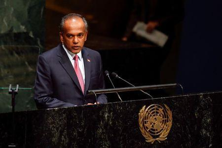 Singapore's Foreign Minister K. Shanmugam addresses the 69th United Nations General Assembly at the U.N. headquarters in New York, September 29, 2014. REUTERS/Shannon Stapleton/File Photo