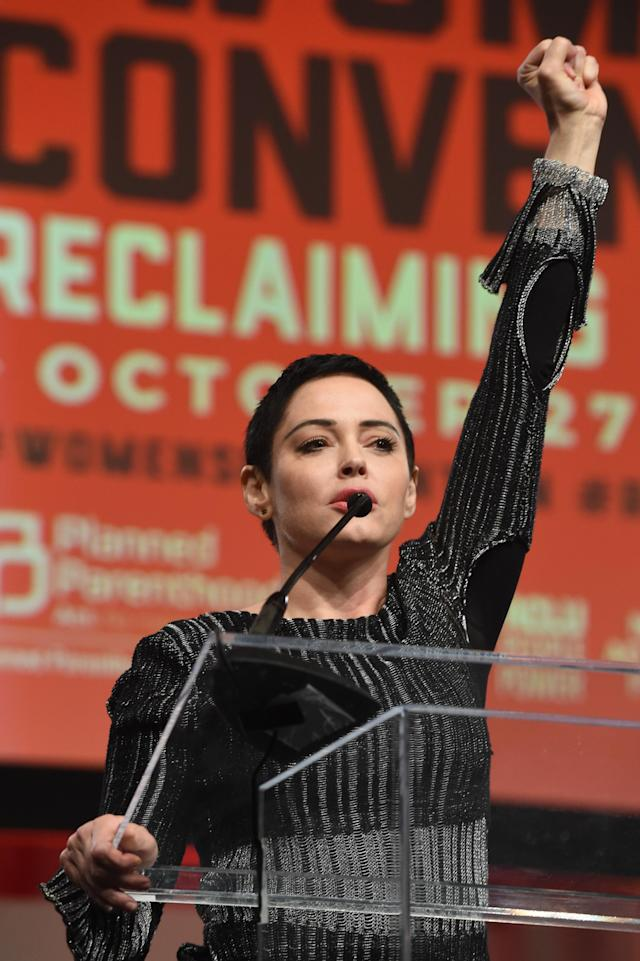 Actress Rose McGowan speaks on stage at the Women's Convention at Cobo Center on Oct. 27, 2017, in Detroit. (Photo by Aaron Thornton/Getty Images)