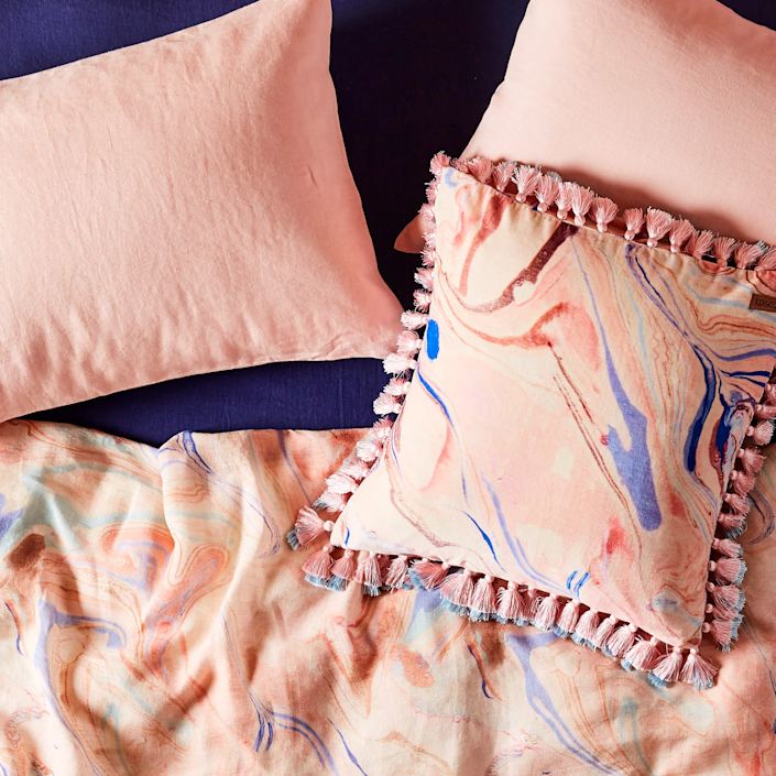 "<h3><strong>Kip&Co</strong></h3><br><br><strong>Best For: Boutique Bedding<br></strong>This boutique home brand from Melbourne has just the right products to bring an uplifting makeover to your home. Featuring candy-colored linens, galaxy-print throws, tasseled cushions and a variety of bath products, this retailer is the secret to creating an Insta-worthy apartment.<br><br><strong><em><a href=""https://kipandco.com/shop.html"" rel=""nofollow noopener"" target=""_blank"" data-ylk=""slk:Shop Kip&Co"" class=""link rapid-noclick-resp"">Shop Kip&Co</a></em></strong><br><br><strong>Kip & Co.</strong> Marble Magic Velvet Tassel Cushion Cover, $, available at <a href=""https://go.skimresources.com/?id=30283X879131&url=https%3A%2F%2Fkipandco.com%2Fcollections%2Fcushions%2Fproducts%2Fmarble-magic-velvet-tassel-cushion-cover"" rel=""nofollow noopener"" target=""_blank"" data-ylk=""slk:Kip & Co."" class=""link rapid-noclick-resp"">Kip & Co.</a>"