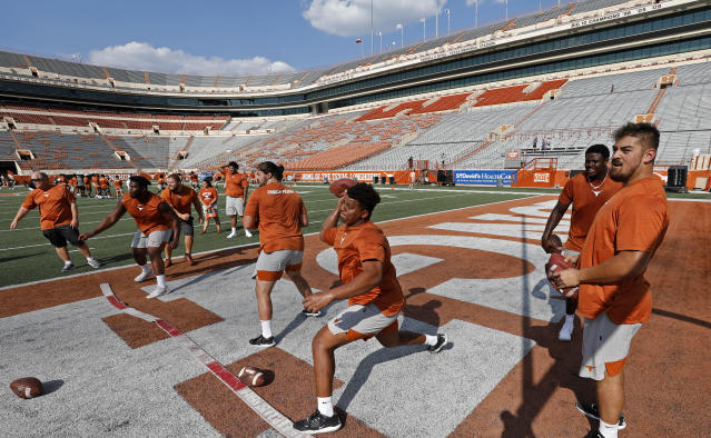 Members of the Texas Longhorns football team play dodge ball during Family Friday practice held Friday Sept. 6, 2019 at Darrell K Royal-Texas Memorial Stadium in Austin, Tx. ( Photo by Edward A. Ornelas )