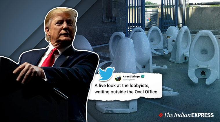 donald trump, toilet gate, trump 10 to 15 times flush toilet, trump flush toilet jokes, trump epa review toilet flush, viral news, funny news, indian express