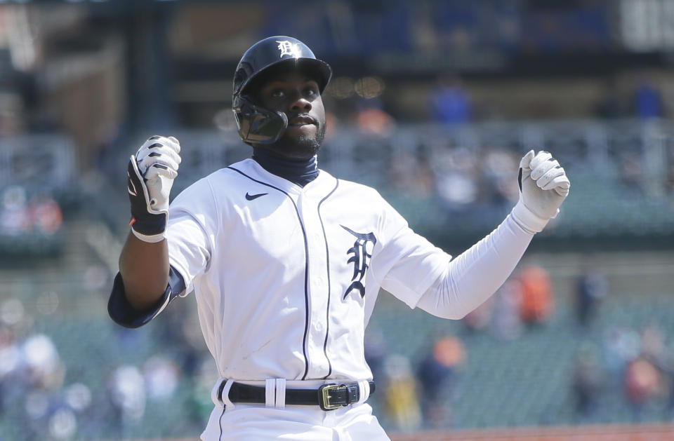DETROIT, MI -  APRIL 4: Akil Baddoo #60 of the Detroit Tigers celebrates after hitting a solo home run against the Cleveland Indians during the third inning at Comerica Park on April 4, 2021, in Detroit, Michigan. (Photo by Duane Burleson/Getty Images)