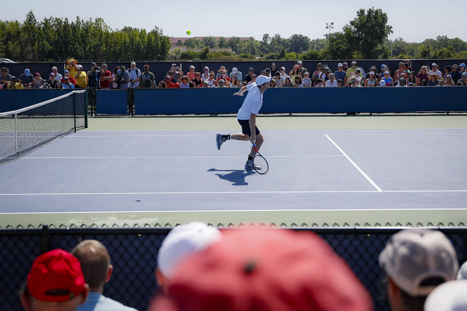 Andy Murray, of Britain, practices at the Western & Southern Open tennis tournament, Sunday, Sunday, Aug. 11, 2019, in Mason, Ohio. (AP Photo/John Minchillo)