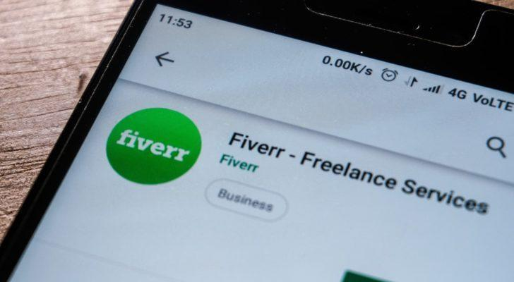 The Fiverr (FVRR) website displayed on a mobile phone screen.