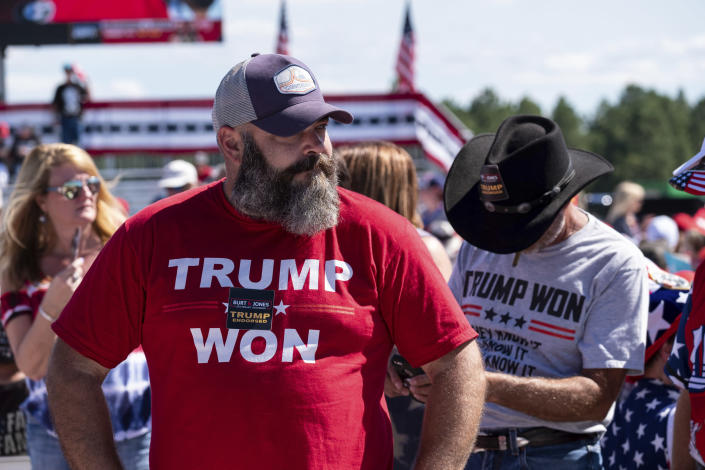 Michael Green waits for the start of former President Donald Trump's Save America rally in Perry, Ga., on Saturday, Sept. 25, 2021. (AP Photo/Ben Gray)