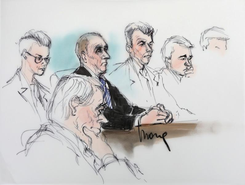 British cave diver Vernon Unsworth is shown in a courtroom drawing during the trial in a defamation case in which he is suing Tesla chief executive Elon Musk, in Los  Angeles, California