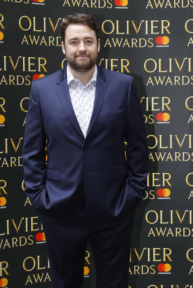 Jason Manford arrives for the the Olivier Awards nominees luncheon in London, Friday, March 10, 2017.(AP Photo/Frank Augstein)