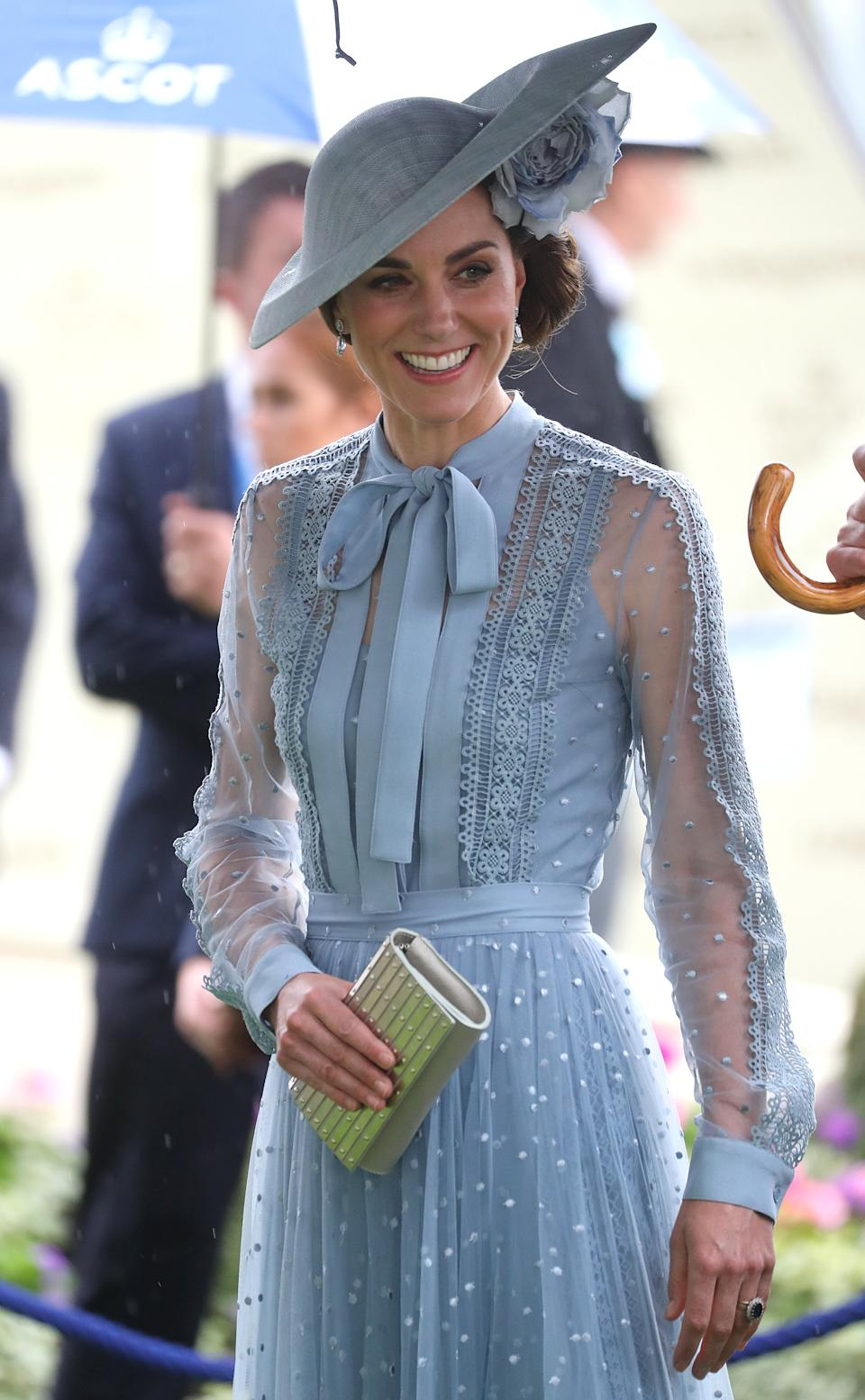 <p>Kate opted for this blue outfit in 2019, by Elie Saab, the first time she had worn the designer. (Chris Jackson/Getty Images)</p>
