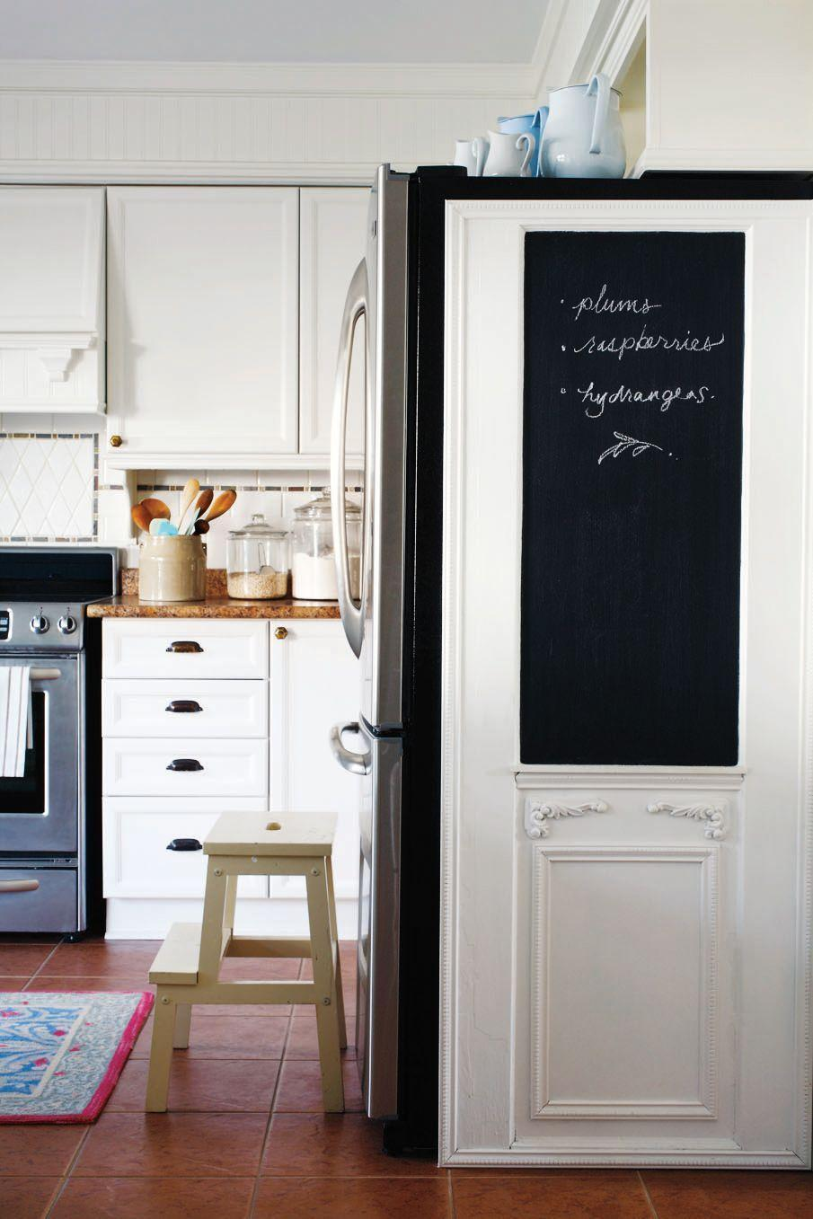 "<p>You can bring function and organization to just about any space in your home. The perfect example? Add a chalkboard panel to the side of your refrigerator to keep track of your weekly grocery list.</p><p><strong>RELATED:</strong> <a href=""https://www.goodhousekeeping.com/home/tips/g2610/best-organizing-tips/"" rel=""nofollow noopener"" target=""_blank"" data-ylk=""slk:100 Best Organizing Tricks for the Tidiest Home Ever"" class=""link rapid-noclick-resp"">100 Best Organizing Tricks for the Tidiest Home Ever</a></p>"