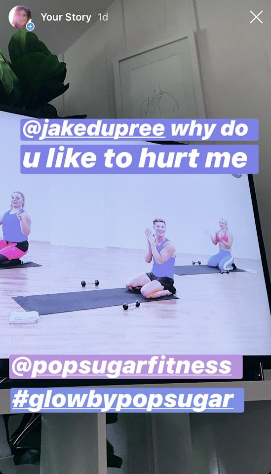 """<h2>Day 22: Cardio &amp; Sculpting Workout With Jake Dupree</h2> <p>First up: the longest workout of the week, a 40-minute session with Jake Dupree. When I started this program at the beginning of January, I was like, <i>Oh, Jake is so sunshine-y and sweet</i>, but I can confirm now that he is totally trying to torture us all.</p> <p>Fortunately, Jake still brings his fun personality, even as he tears your abs to shreds. Ultimately, I loved this balance of stamina-building cardio and muscle-building strength moves. There were several exercises that helped with my lower abs (transverse abdominis), which I desperately need to make my darn hip flexors stop overworking! Another component I really loved was the cooldown; I definitely needed pigeon pose after this workout. The yoga-style end to the intensive cardio routine was perfect.</p> <h2>Day 23: Quick Knockout Workout with Christa DiPaolo</h2> <p>I did this workout at my mom's house using my iPad as my screen, so it was the first (and only!) time I did a workout away from my Apple TV. Fortunately, the app is even easier to use on a mobile device.</p> <p>Resistance band exercises are among my favorite (big, <i>big</i> fan of the booty bands), so when I saw resistance bands in the thumbnail image, I got really excited. This 13-minute workout kept it short and sweet, and felt like a fusion between a shadow boxing class and <a href=""""https://www.popsugar.com/fitness/Best-Butt-Workout-Moves-40928121"""" class=""""ga-track"""" data-ga-category=""""Related"""" data-ga-label=""""https://www.popsugar.com/fitness/Best-Butt-Workout-Moves-40928121"""" data-ga-action=""""In-Line Links"""">Best Butt Ever</a> from Equinox (a class I used to take weekly!).</p>"""