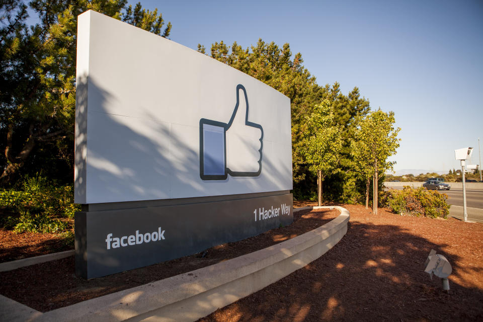 """Scenes of daily work and life at Facebook Inc. USA Headquarters in Menlo Park, California. The """"Like"""" Facebook sign located at the entrance to the Facebook campus. (Photo by Kim Kulish/Corbis via Getty Images)"""