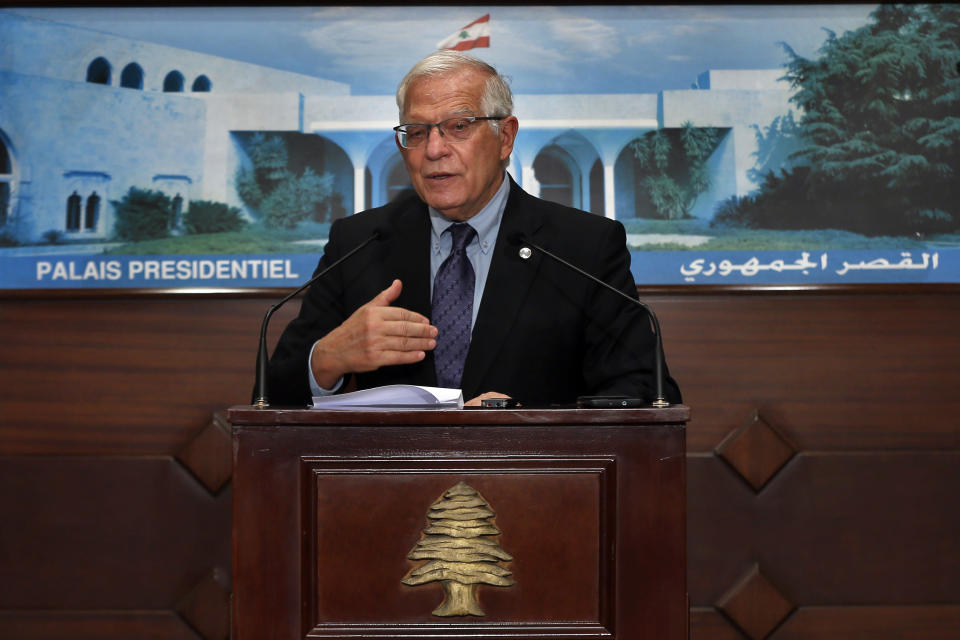 European Union foreign policy chief Josep Borrell, speaks during a press conference after his meeting with Lebanese President Michel Aoun at the Presidential Palace in Baabda, east of Beirut, Lebanon, Saturday, June. 19, 2021. Borrell berated Lebanese politicians for delays in forming a new Cabinet, warning the union could impose sanctions on those behind the political stalemate in the crisis-hit country. (AP Photo/Bilal Hussein)