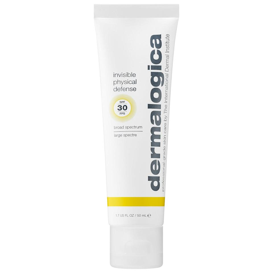 """<p>Not only does this <a href=""""https://www.popsugar.com/buy/Dermalogica-Invisible-Physical-Defense-Sunscreen-SPF-30-572826?p_name=Dermalogica%20Invisible%20Physical%20Defense%20Sunscreen%20SPF%2030&retailer=sephora.com&pid=572826&price=54&evar1=bella%3Aus&evar9=47461551&evar98=https%3A%2F%2Fwww.popsugar.com%2Fbeauty%2Fphoto-gallery%2F47461551%2Fimage%2F47461555%2FDermalogica-Invisible-Physical-Defense-Sunscreen-SPF-30&list1=sephora%2Cdry%20skin%2Cacne%2Csensitive%20skin%2Cbeauty%20shopping%2Cskin%20care&prop13=mobile&pdata=1"""" class=""""link rapid-noclick-resp"""" rel=""""nofollow noopener"""" target=""""_blank"""" data-ylk=""""slk:Dermalogica Invisible Physical Defense Sunscreen SPF 30"""">Dermalogica Invisible Physical Defense Sunscreen SPF 30</a> ($54) protect against the sun (and free-radical damage), there's skin-supporting green tea and a special mushroom complex to calm already irritated, red skin at the same time.</p>"""
