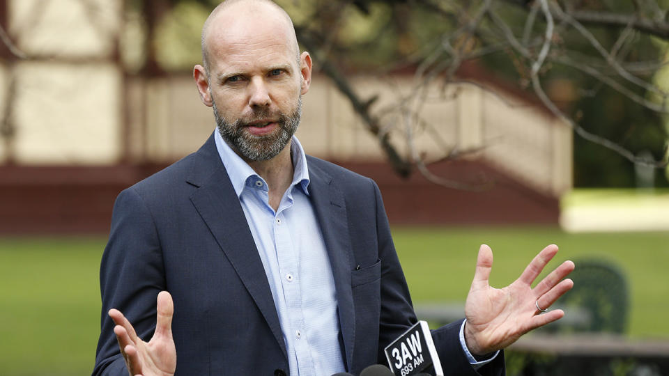 Jeroen Weimar, pictured here speaking to the media in Melbourne.
