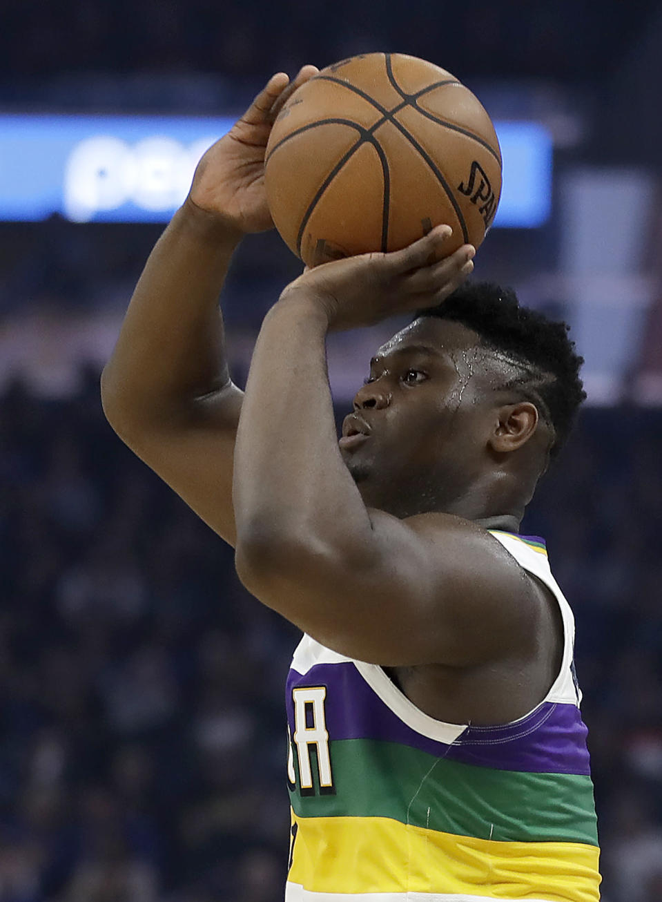 New Orleans Pelicans' Zion Williamson shoots against the Golden State Warriors in the first half of an NBA basketball game Sunday, Feb. 23, 2020, in San Francisco. (AP Photo/Ben Margot)