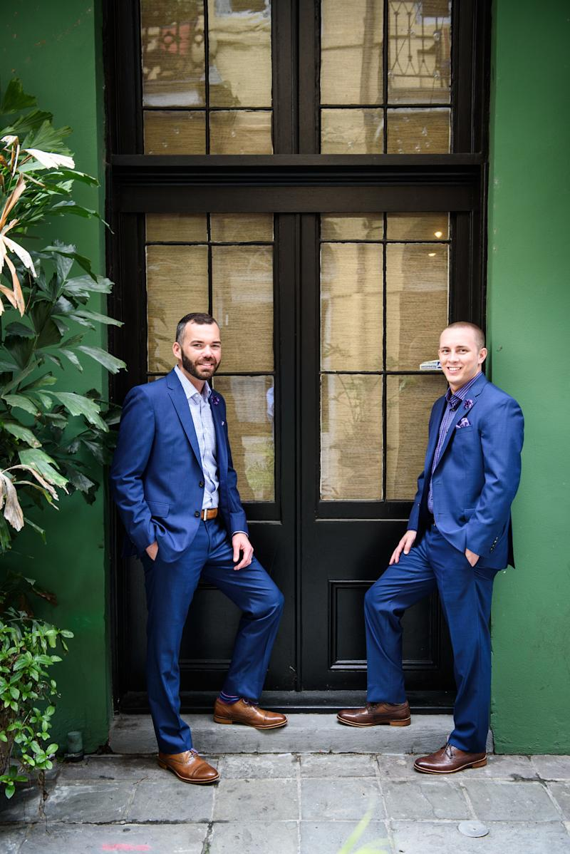 Eric Sheffield and Lane Ross married on Mardi Gras eve.