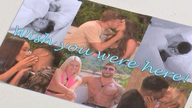 The girls received a postcard from producers about what the boys had been up to at Casa Amor (Photo: ITV)