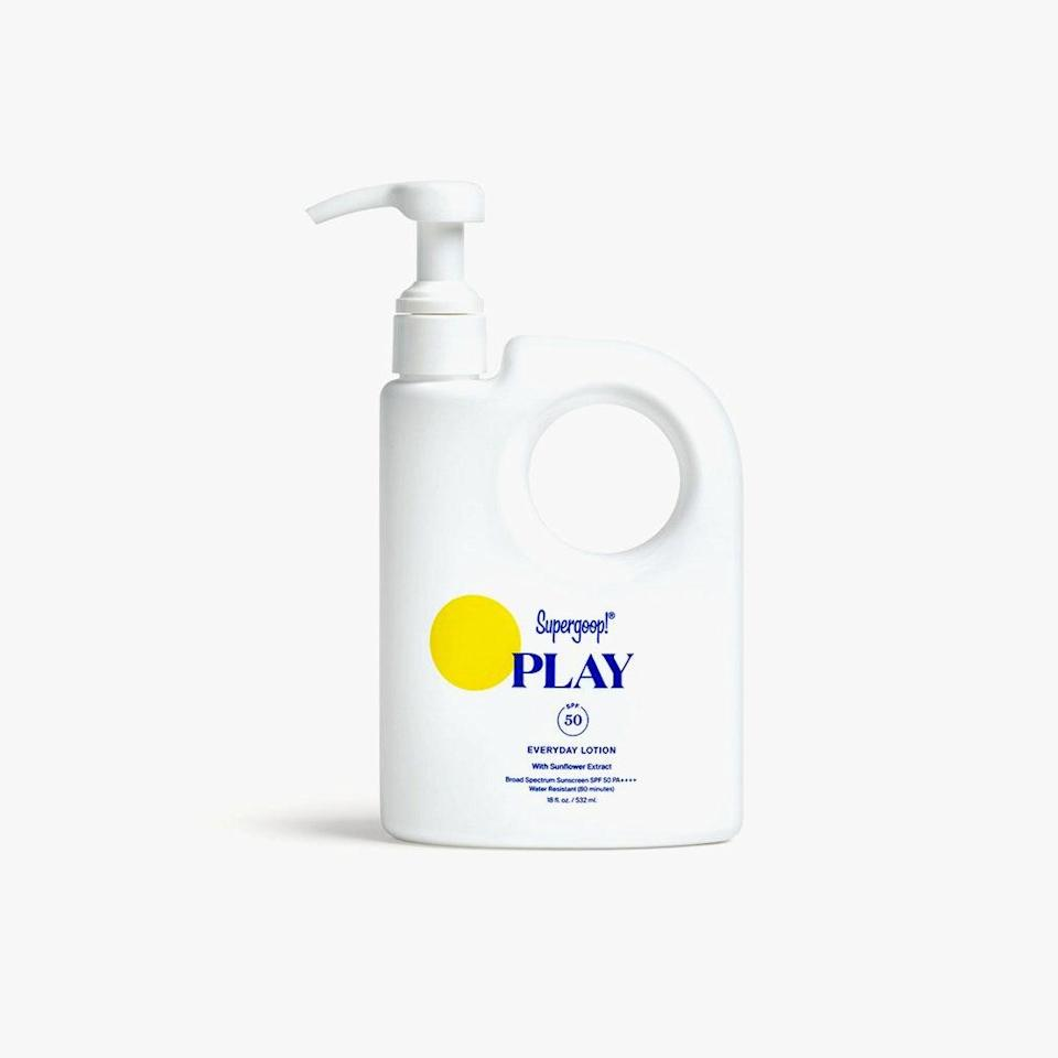 """This silky, sinks-right-in SPF 50 lotion is housed in a jumbo bottle with a pump applicator that makes slathering on protection all over your face and body a cinch before you run out the door. $58, SUPERGOOP!. <a href=""""https://shop-links.co/1707054458321951547"""" rel=""""nofollow noopener"""" target=""""_blank"""" data-ylk=""""slk:Get it now!"""" class=""""link rapid-noclick-resp"""">Get it now!</a>"""