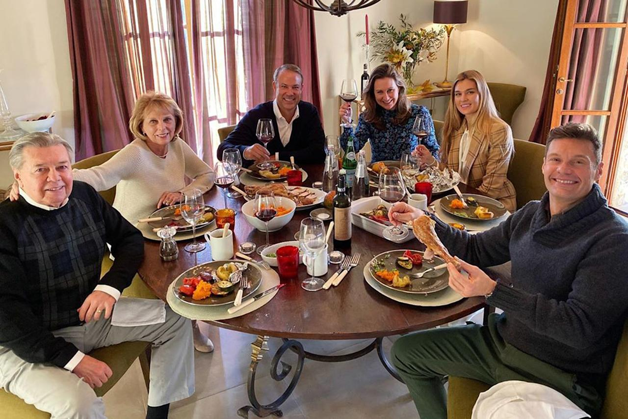 """7 minutes after this photo, I got turkey in my eye. Now that I'm fully recovered, Happy Thanksgiving!"" the <em>Live With Kelly and Ryan</em> host <a href=""https://www.instagram.com/p/B5a3gCSJWDi/"">captioned</a> this family shot."