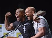 <p>Terry Crews and Will Smith pose onstage at Netflix Films: <em>Bright</em> and <em>Death Note</em> panel during Comic-Con International 2017 at San Diego Convention Center on July 20, 2017 in San Diego, California.</p>