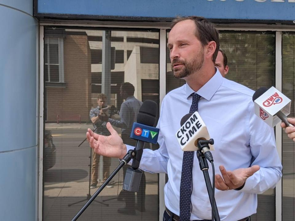Saskatchewan NDP Leader Ryan Meili is shown at a news conference in August 2021. Meili says there are clear recommendations against using ivermectin as a COVID-19 treatment, following comments from Premier Scott Moe that he was 'not sure about the science behind that.