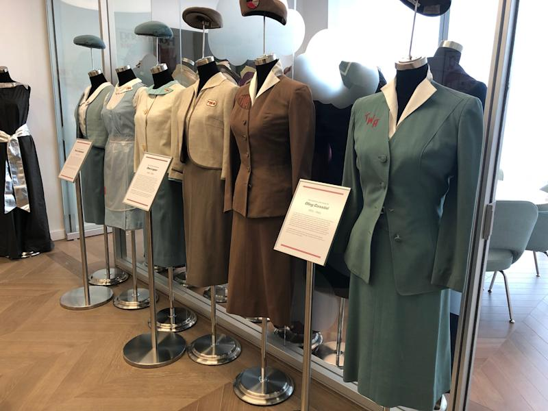Display of old TWA employee uniforms. [Credit: Brian Sozzi]